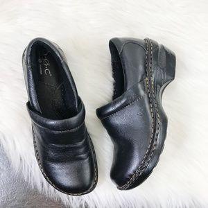 Born BOC Black Pebble Leather Slip On Mule Clogs 7